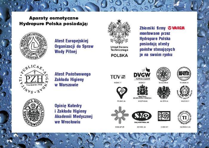 Atesty aparatów osmotycznych Hydropure Polska