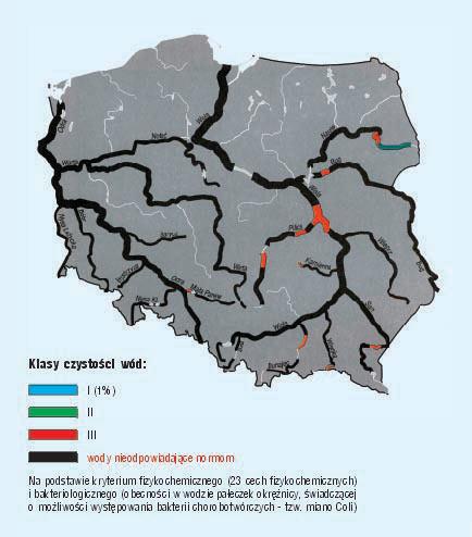 klasy czystości wód - mapa